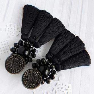Серьги с кистями серьги с камнями сережки с шелковыми кистями
