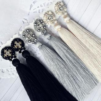 Сережки с кистями серьги с вышивкой серьги на подарок сережки женские
