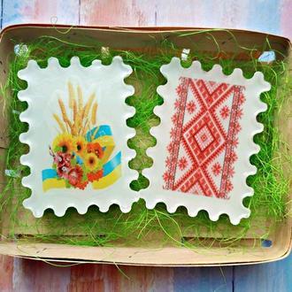 Набір українського мила орнамент та колоски в корзині