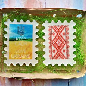 Набір українського мила keep calm та орнамент в корзині