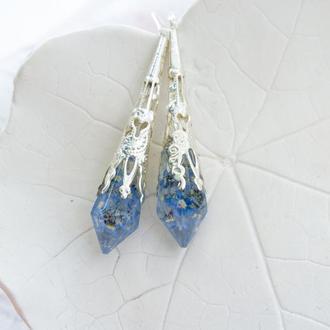 Серьги кристаллы с незабудками