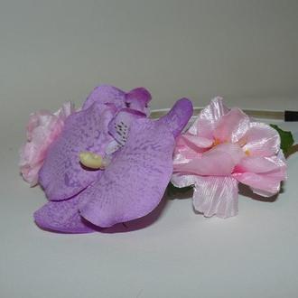 """Ободок """"Орхидея и Сакура """" ручной работы"""