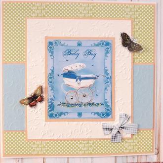"""Поздравительная открытка """"Baby boy"""" ( с рождением мальчика!)"""