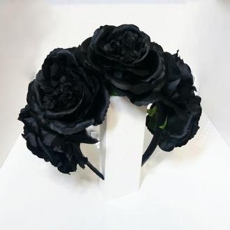 Черный ободок с цветами ,Обруч  для Хэллоуина ,Венок на Хэллоуин