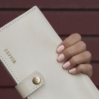 Белый кошелёк для купюр и мелочи