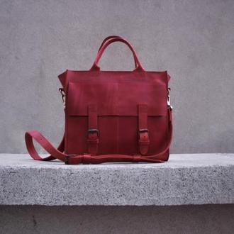 Красная сумка из натуральной кожи для женщин и девушек