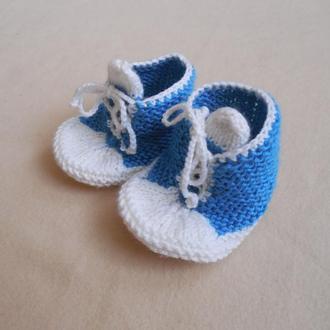 Пинетки кроссовки вязаные спмцами для мальчика 6-9 мес.