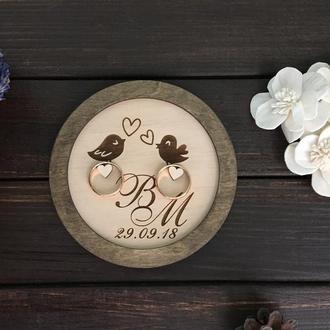 """Деревянная подставка для свадебных колец, """"Круглая-птички"""""""