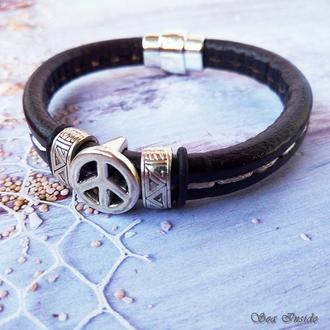 Кожаный браслет Регализ Знак Мира (арт. 204)