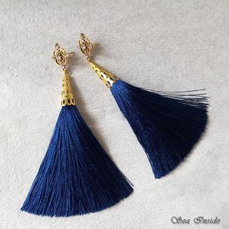 Серьги-кисти ажурные синие (арт. 086)