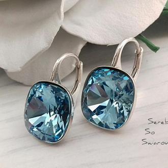 Серебряные серьги с кристаллами Сваровски Aquamarine