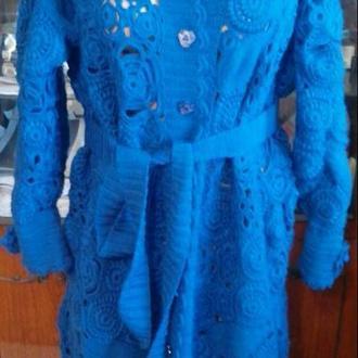 Эксклюзивное вязаное пальто кардиган ручная работа ирландское кру