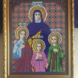 Картина вышитая бисером ВЕРА, НАДЕЖДА, ЛЮБОВЬ И СОФИЯ, ИХ МАТЬ/Віра, Надія, Любов і Софія, їхня мати