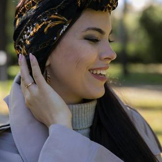 """Бархатный тюрбан """"Осеннее золото"""", повязка тюрбан, головной убор, шапка тюрбан"""