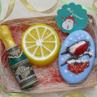 Набор мыла НОВОГОДНИЙ (шампанское, лимон, снегирь)