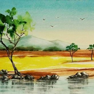 """Картина акварель, пейзаж """"На озере"""""""