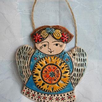 Ангел з зіркою. керамічна підвіска (плакетка) на стіну. Різдвяний декор