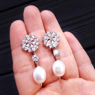 Серьги с натуральным жемчугом и кристаллами свадебные серьги праздничные серьги серьги с жемчугом