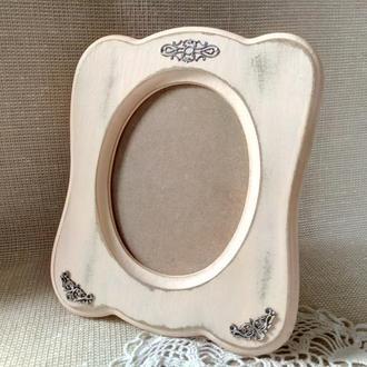 Фоторамка розовая с потертостями в стиле шебби-шик Рамка для фото винтажная Семейная фоторамка