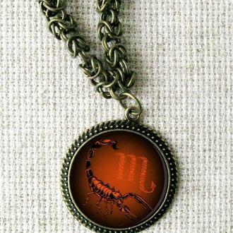 """Кулон знак Зодиака """"Скорпион"""" и бронзовая массивная цепочка. Колье - подарок Скорпиону."""