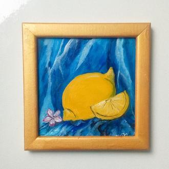 Картина маслом Лимон Интерьерная картина Желтый