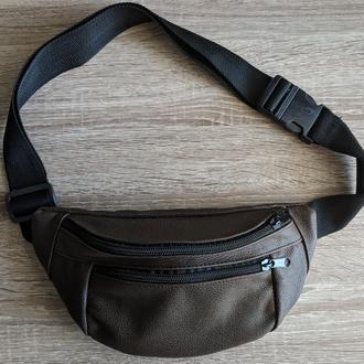 Бананка натуральная кожа, стильная сумка на пояс коричневая - большой размер