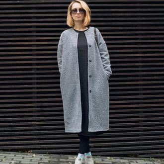 Серое пальто, букле, пальто на подкладке, оверсайз, стильное пальто, осеннее пальто