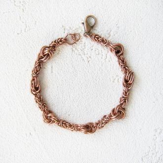 """Медный браслет цепочка с узелками """"любовный узел"""". Техника chainmail, византийское плетение"""