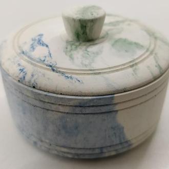 Бетонная коробочка для соли, украшений – белая с голубым и зеленым