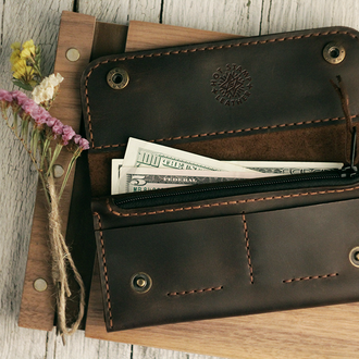 Кожаный стильный кошелек унисекс. Отличный подарок на Новый год!