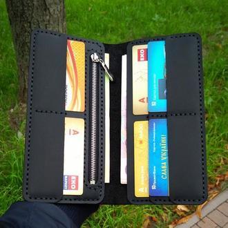 Мужское портмоне, кожаний кошелек, бумажник на подарок для мужчини с отделом на молнии