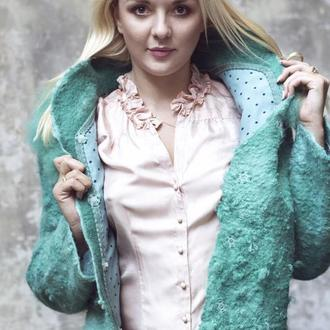 Пальто  Мята,валяное ручной работы,из шерсти мериноса и флиса альпаки,демисезонное