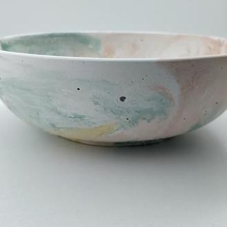 Тарелка из бетона - разноцветная (белый, зеленый, желтый, оранжевый)