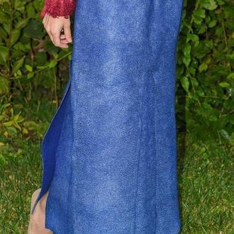 Юбка Деним,валяная ручной работы,из мериносовой шерсти и шелка