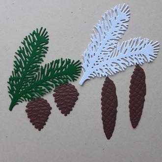 Вырубка из бумаги для скрапбукинга и кардмейкинга Сосновые веточки