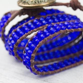 """Спиральный синий браслет ручной работы """"New york"""""""
