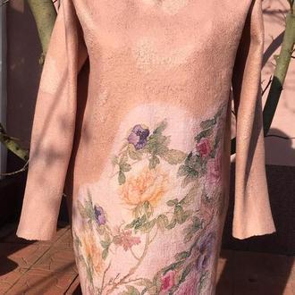 Платье Весна,валяное ручной работы,из мериносовой шерсти