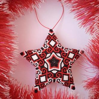 Новогодняя игрушка Звезда Заира из бисера ручной работы
