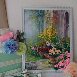 """Вышитая лентами картина """"Цветущий сад"""" вышивка лентами по принту, 30 на 40 см"""