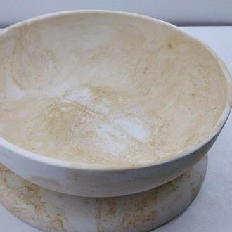Набор тарелка и подставка под горячее из бетона - белая с желтым