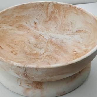 Набор тарелка и подставка под горячее из бетона - белый с оранжевым