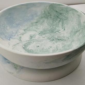 Набор тарелка и подставка под горячее из бетона - белый, голубой и зеленый