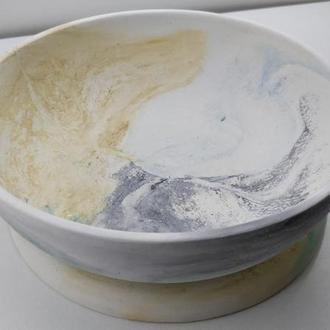 Набор тарелка и подставка из бетона - мультицвет (белый, голубой, желтый, зеленый, черный)