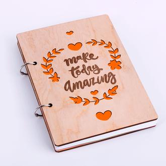 """Блокнот в деревянной обложке """"Make today amazing"""""""