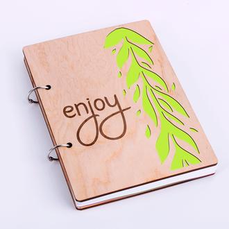 """Блокнот в деревянной обложке """"Enjoy"""""""