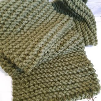 Длинный шарф крупной вязки