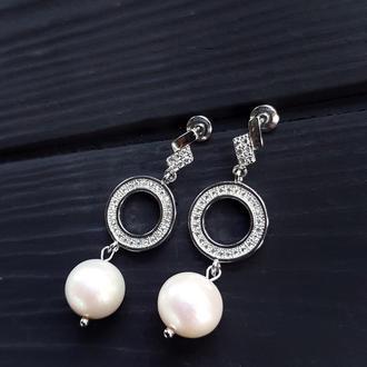 Сережки з натуральними білими перлами та кристалами серьги с жемчугом свадебные серьги
