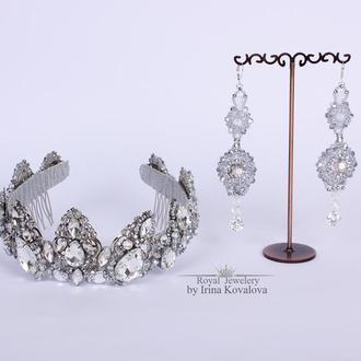 Волшебный свадебный набор: корона и серьги