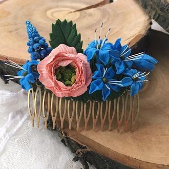 Гребень для волос с синими цветами из холодного фарфора подснежники