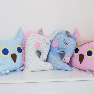 мягкие подушки игрушки-совушка сплюшка-единорог подушка-новогодние подарки детям